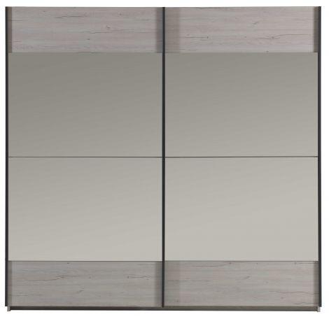 Kledingkast Gert 220cm met 2 schuifdeuren & spiegel - grijs
