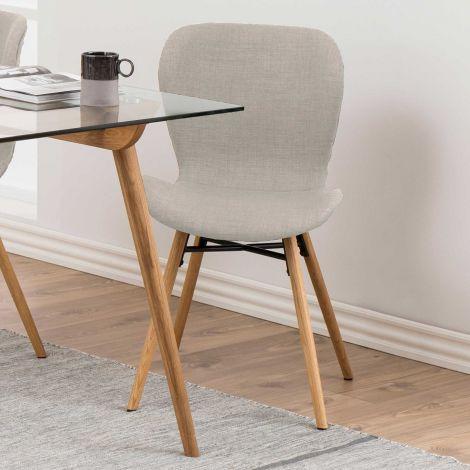 Set de 2 chaises en tissu Tilda avec pieds obliques - sable/chêne