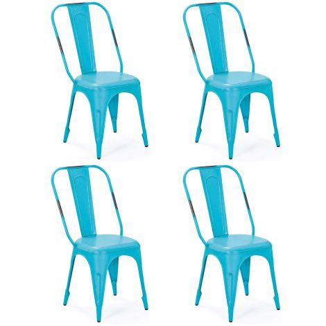 Set van 4 stoelen Aix - turquoise