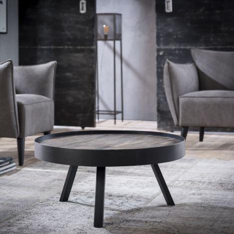 Table de salon Teca Ø75 bord - Teck en lavage gris