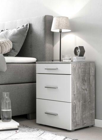 Nachtkastje Bedside 3 laden - wit/beton