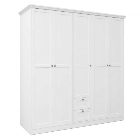 Kledingkast Landwood 187cm met 5 deuren - wit