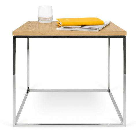 Table d'appoint Gleam 50x50 - chêne/chrome