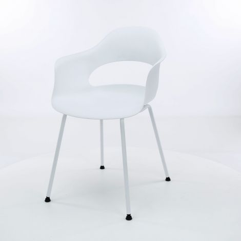 Chaise en polypropylène pietement metal poudrage electrostatique - Lot de 4 - Blanc