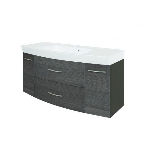 Meuble vasque Florent courbé 120cm 2 tiroirs & 2 portes - graphite/chêne gris