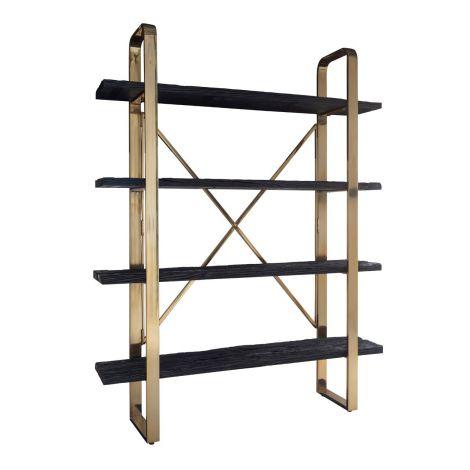 Boekenkast Vendrame met 4 legplanken 152cm - goud/zwart