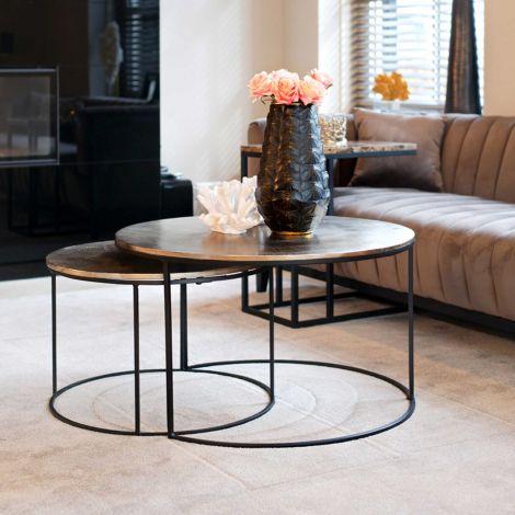 Set van 2 salontafels Usher - champagnegoud/zwart