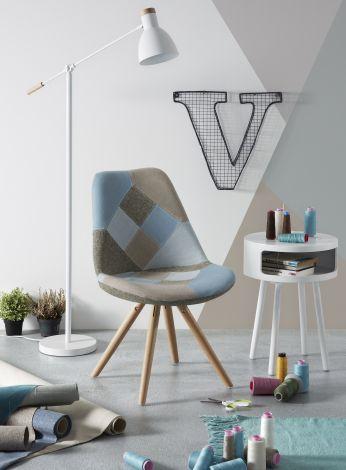 Ensemble de 4 chaises Ralf bois/tissu - patchwork bleu