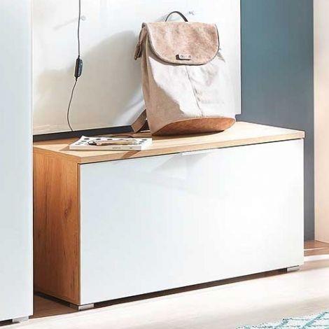 Schoenenkast Tille 89cm met 1 deur - eik/wit