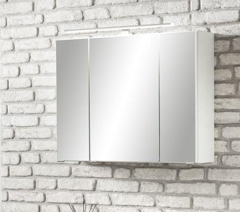 Spiegelkast Stivan 80cm 3 deuren & ledverlichting - wit