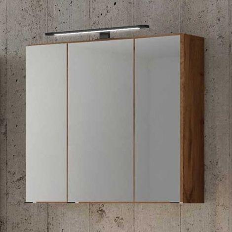 Spiegelkast Dusan 70cm met 3 deuren - wotan eik