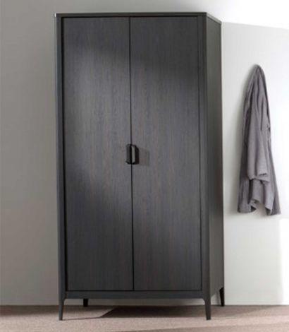 Armoire Azalea 100cm avec 2 portes - brun/noir