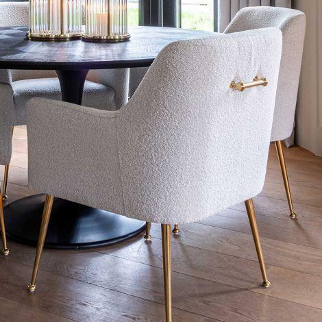 Chaise de salle à manger Hubbs bouclé - blanc/or