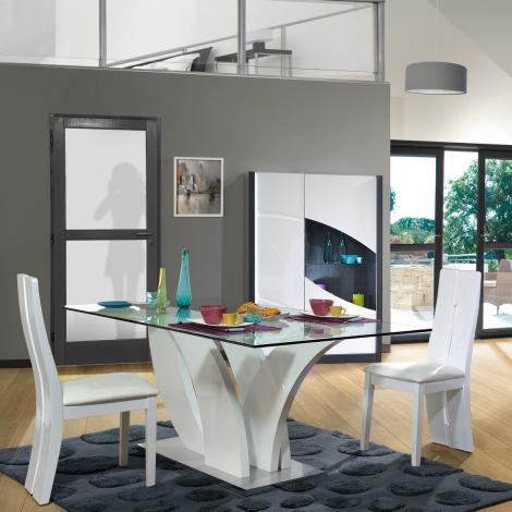 Eettafel Eloa 200x100 met glazen blad - hoogglans wit