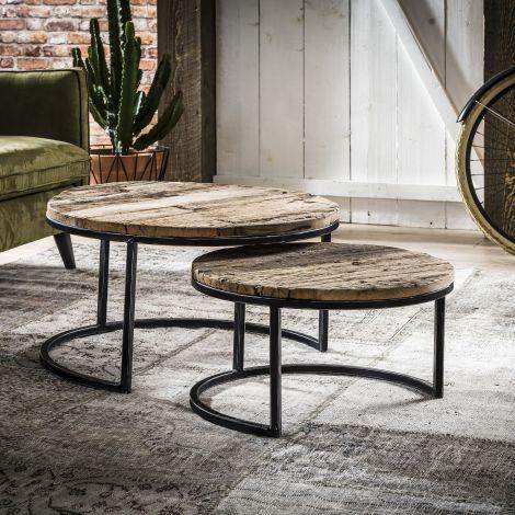 Table de salon série - 2 rond - demi-ronde - Bois dur robuste