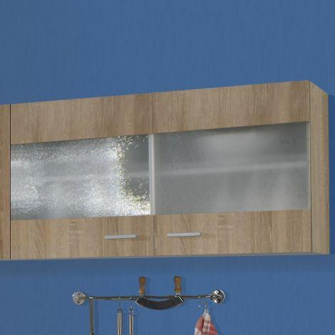 Meuble haut Bingo 100cm portes en verre - chêne sonoma