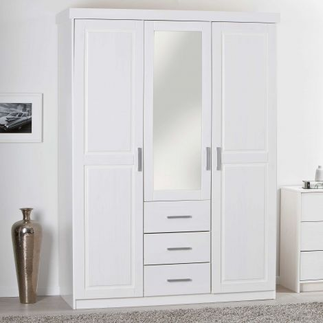 Armoire Geraldo 140cm avec 3 portes & miroir - blanc