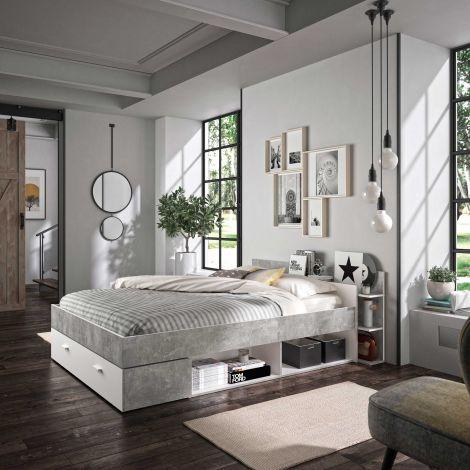 Bed met opbergruimte Eveline 140x190 - wit/beton