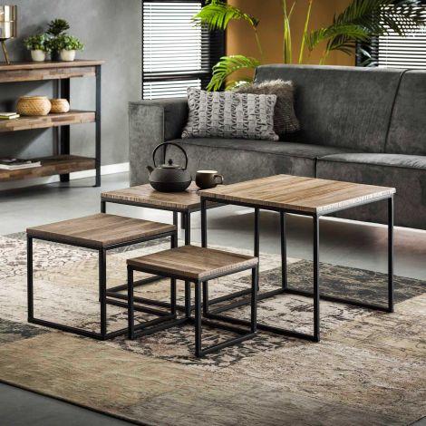 Set van 4 salontafels Teca industrieel - teak