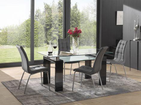 Eettafel Eline 160x80 - hoogglans zwart