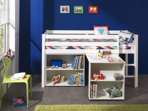 Halfhoogslaper Charlotte met bureau en bibliotheek - wit