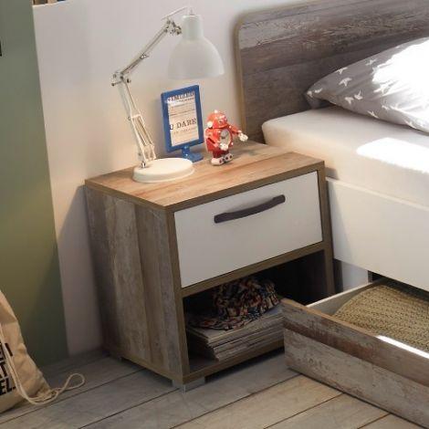 Nachtkastje Petrus met 1 lade - wit/drijfhout