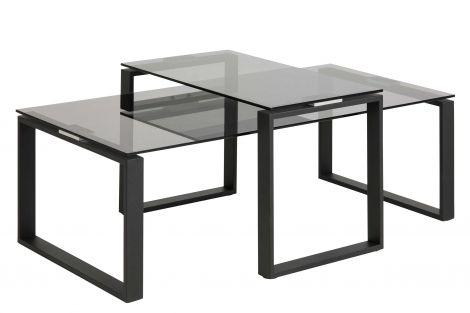 Set van 2 salontafels Nicola met glazen blad - zwart
