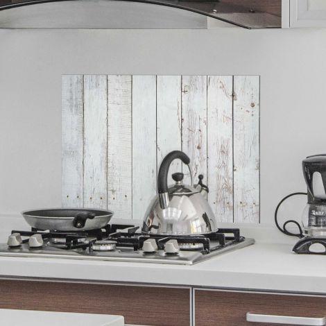 Muursticker White Wood achterwand keuken